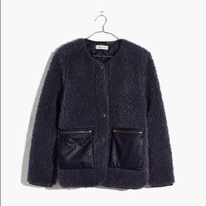 $168 MADEWELL Sherpa Snap Jacket in Navy S NWT